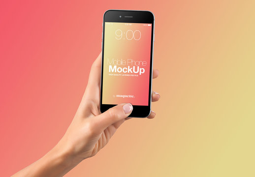 Hand with Cellphone on Gradient Background Mockup 38
