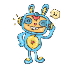 rabbit listening to music