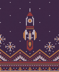 Knitted flying up rocket