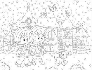 Friendly smiling girl and a boy talking and going together on the street of a snow-covered town