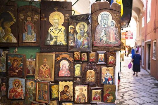 Greek Orthodox religious icons in souvenir and gift shop in Kerkyra, Corfu Town, Corfu, Greek Islands, Greece