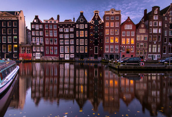 Amsterdam night city view