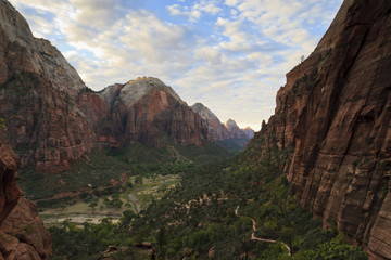 View down Zion Canyon from trail to Angels Landing at dawn, Zion National Park, Utah, United States of America, North America