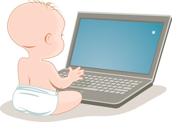 Small baby sits in front of blank laptop computer screen.