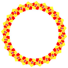 Flower frame happy mother's day card, with a yellow-red flowers, round shape on white background