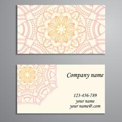 Business Card. Vintage decorative elements. Ornamental floral bu
