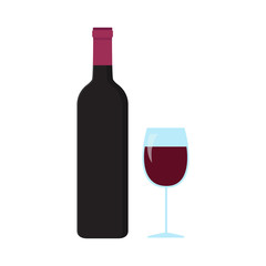 Flat icon bottle and glass of wine. Vector illustration.