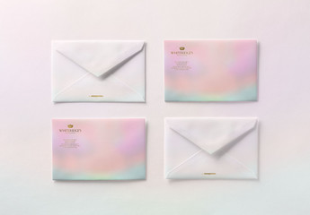 Four Luxury Gold-Embossed Envelopes Mockup 1