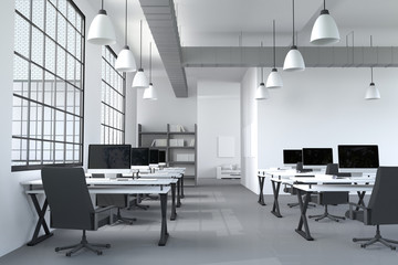 3D Rendering : illustration of modern interior white office of Creative designer desktop with PC computer.computer labs.working place of graphic design.close-up.Mock up