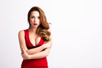 Beautiful sexy woman in elegant red dress.