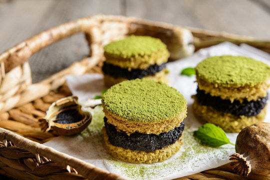 Matcha green tea cakes with poppy seeds filling