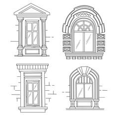 Set of retro windows. Art Nouveau. Art Modern. Jugendstil.  A picture on white background. Hand drawing illustration.