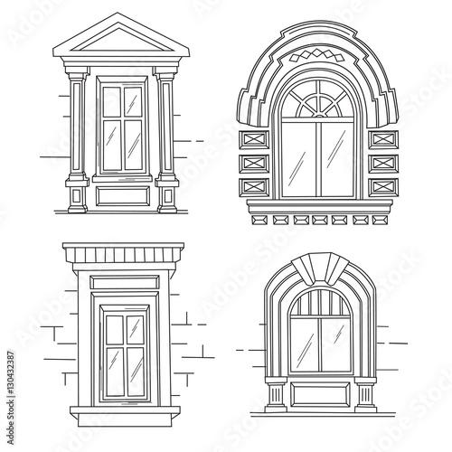 Set Of Retro Windows Art Nouveau Modern Jugendstil A Picture On