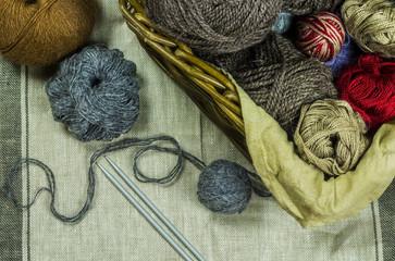 Colored yarn in basket