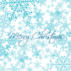 Christmas card with blue vector snowflakes on white background