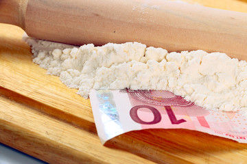 euro paper bills and wheat flour for bread on a wooden board