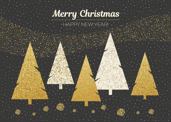 Vector merry Christmas and happy New Year design. Horizontal card with Christmas trees on black background. Gold gradirnt.