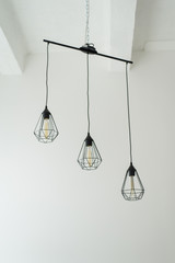 Vintage hanging chandelier with light bulbs