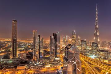 Night cityscape of Dubai with modern futuristic architecture , United Arab Emirates