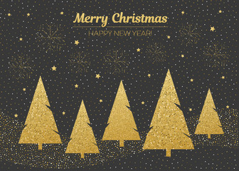 Vector merry Christmas and happy New Year design. Horizontal card with golden Christmas trees in blackboard.