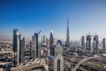 Dubai skyline with futuristic architecture, United Arab Emirates