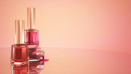 Nail polish. Blue background. Fashion, makeup, manicure, nails,