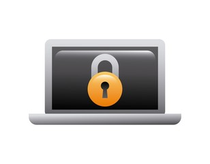 laptop computer with padlock icon. cyber security concept. colorful design. vector illustration