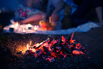 the burning fire against a loving couple. Romantic appointment at a fire