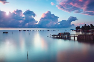 Fishing village at the sunrise