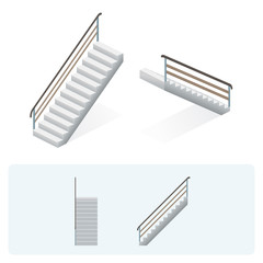 Isometric stairs - face, profile and top view. Vector illustration.