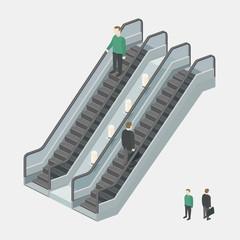 Escalator with people. Businessman on escalator. Isometric view. Vector illustration.
