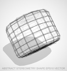 Abstract geometry shape: Ink sketched Cylinder. Hand drawn 3D polygonal Cylinder. EPS 10, vector.