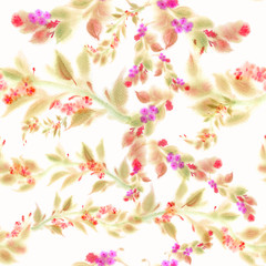 Seamless background. Branches of leaves and flowers - watercolor