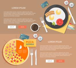 Flat design illustration breakfast. Concepts web banner
