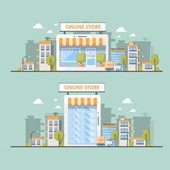 flat illustration of online shop in city