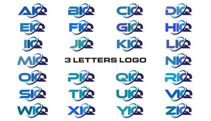 3 letters modern generic swoosh logo  AIQ, BIQ, CIQ, DIQ, EIQ, FIQ, GIQ, HIQ, IIQ, JIQ, KIQ, LIQ, MIQ, NIQ, OIQ, PIQ, QIQ, RIQ, SIQ, TIQ, UIQ, VIQ, WIQ, XIQ, YIQ, ZIQ