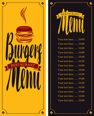 vector menu for fast food restaurant with burgers and price