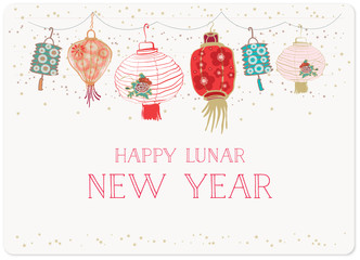 hand drawn of chinese lantern on the stars and blue sky background for lunar new year