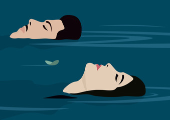 Couple floating on back in pool