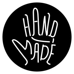 Hand made. Sign. Hand lettering. Vector icon.