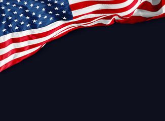 American flag with empty black background