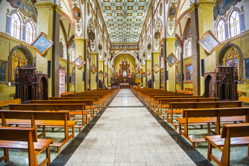 Interior of the church of Our Lady of the Rosary of Holy Water Baths in Banos city, Ecuador