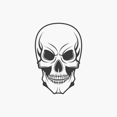 Human skull in monochrome style isolated on white background vector illustration