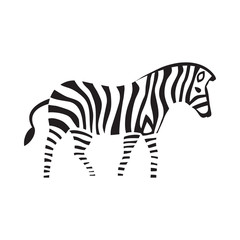 Zebra silhouette on the white striped