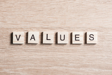 Values word of wooden elements