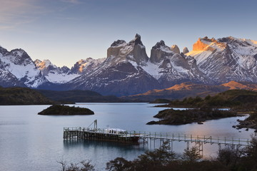 Boat dock and Paine mountains at sunset, Torres del Paine National Park, Patagonia, Chile, South America