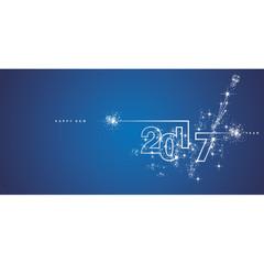 New Year 2017 line design firework white blue vector