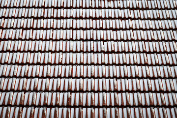 Snow dusted red tiled roof