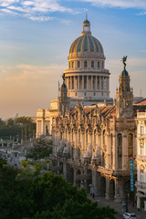 The National Capitol building (El Capitolio), lit by the golden morning sun in Havana, Cuba