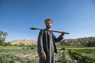 A farmer in the Bamiyan valley, Afghanistan, Asia